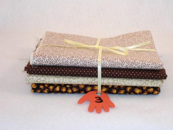 Fat Quarters - Mix and Match Cotton and Cotton Blend - 4 Panel Set, No. 3 - DESTASH