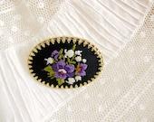 vintage handmade embroidered flower brooch. PURPLE FONDNESS.