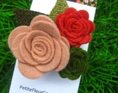 Felt Trio Rose Hair Clip - For Baby to Adult - Grapefruit, Green and Strawberry Red Felt on a Silver Coloured Single Prong Hair Clip