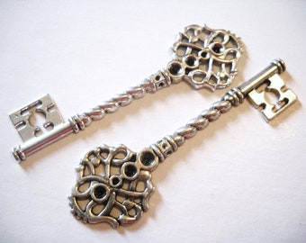 Skeleton Keys-Antiqued Silver-68mm-10pcs-58 Cents: Wholesale