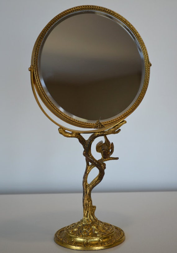 Vintage art nouveau gold filigree bird and by thepyrexprincess for Gold stand up mirror