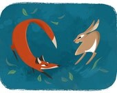 The Fox and The Hare 5x7 Print