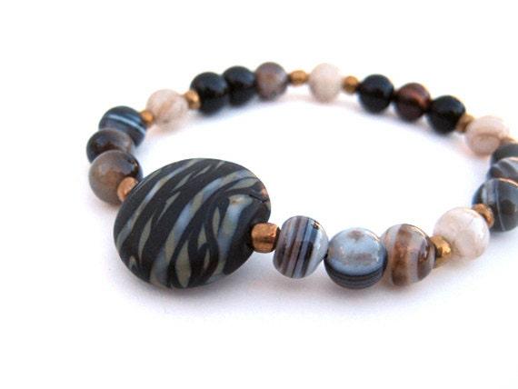 Beaded stretch bracelet, handmade beaded bracelet. beaded bracelet, lampwork bracelet