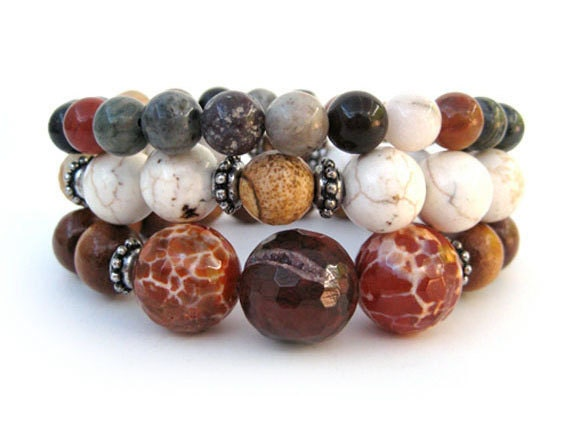 Bohemian beaded stretch bracelets handmade fall fashion OOAK, member of The Artisan Group