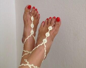 Destination Wedding Ivory Beaded Barefoot Sandals , Beach Festival Crochet Sandles, Hippie Yoga Anklet Jewelry, Boho Nude Shoes