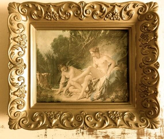 RESERVED for KERRIE.....Old 1950 Framed Print.Hollywood Regency.French Boudoir.