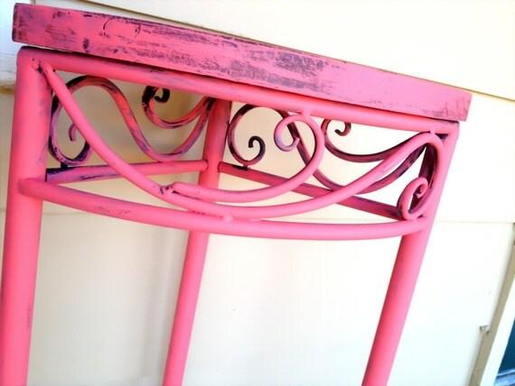 TREASURY LIST ITEM//Coral Hand Painted Corner Table