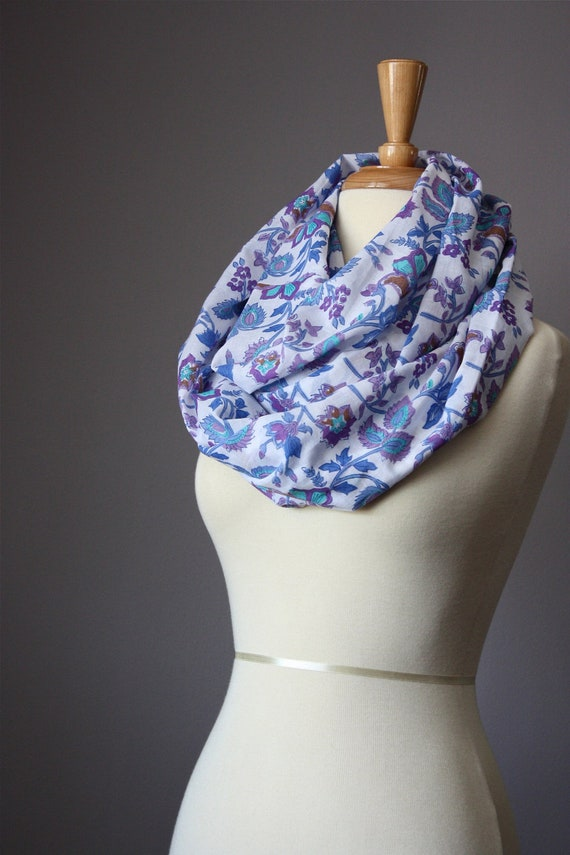 Infinity Scarf Floral Print cotton summer spring light loop tube circle soft blue