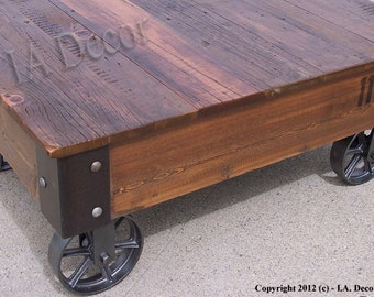 Factory Cart Coffe Table with Wheels on Corners - Reclaimed Wood - Industrial Rustic Coffee Table