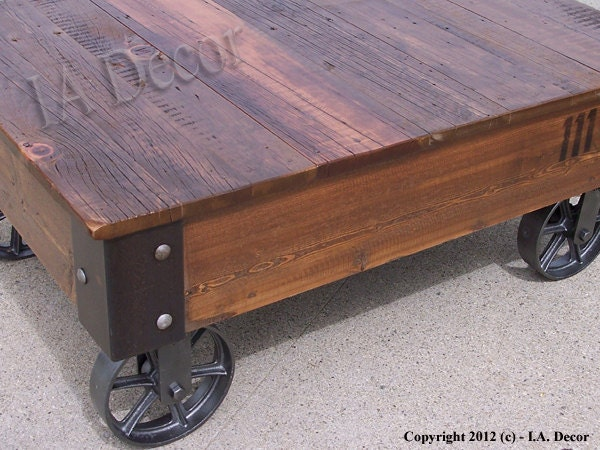Factory Cart Coffe Table With Wheels On Corners Reclaimed
