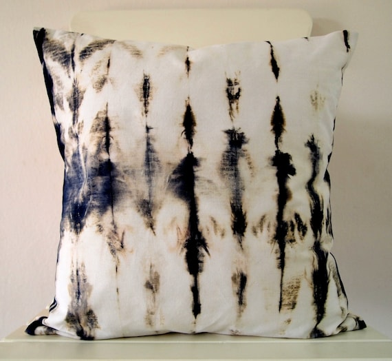 Decorative Throw Pillow Cover - Hooker's Green - Unique Abstract Pattern - Hand Dyed Fabric - 14 x 14 - Batik - Tie Dye - Shibori