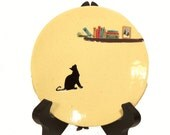 Black Cat Silhouette, Hand Made-Hand Painted Ceramic Plate, Pet Lovers Decoration