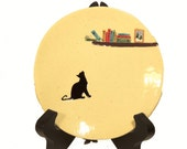Black Cat Silhouette, Hand Made-Hand Painted Ceramic Plate, Pet Lovers Decoration - JSBArts