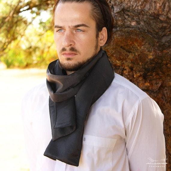 Black Silk Scarf for Men - Elegant Summer Lightweight Silk Scarves for Men by Foxenberg