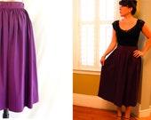 Vintage 1950s Plum Purple Swing Skirt / 50s Full Pleated Rockabilly Skirt / High Waist / Small
