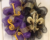 LSU Tigers and New Orleans Saints Football Deco Poly Mesh Wreath Spring Wreath Fall Wreath