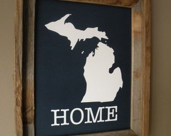 Michigan Home Print (Dark Blue) - Unframed