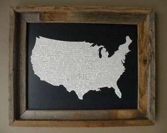USA In A Nutshell Map Print (Dark Blue) - Unframed