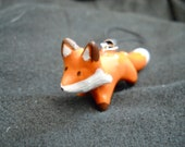 Adorable Miniature Polymer Clay Fox Phone Charm