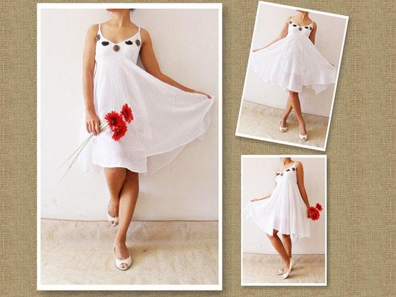 Party  Rose.....Rose Sweet white mini cotton dress