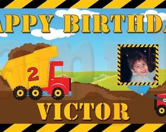 Construction Dump Trucks - Personalized Large 2x4 Custom Vinyl Birthday Banner