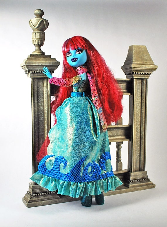 Monster High handmade Out of this world Stunning colorful sparkle doll dress with scarf and under skirt