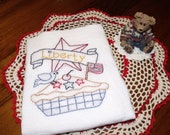 Dish Towels, Set of 5, Hand Embroidered, Proud USA Designs