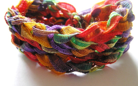 Crocheted Rainbow Tie Dye-like Ribbon Bracelet