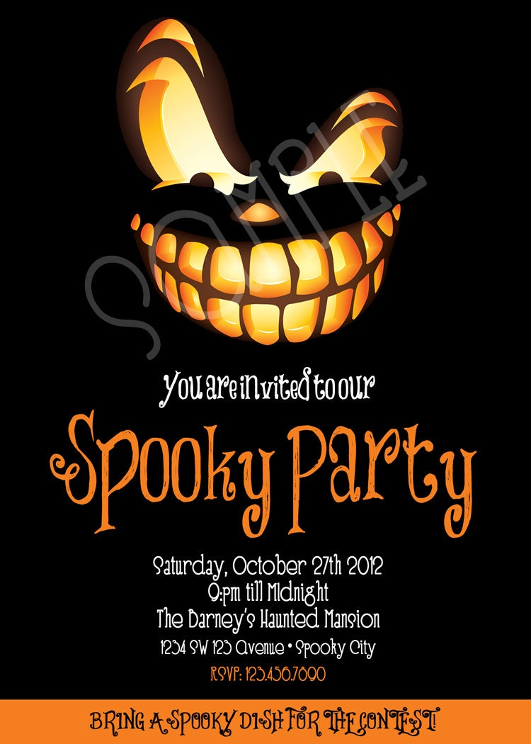 Spooky Party Invitation Adult Halloween Invitation
