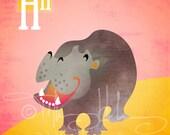 "H is for Hippo - Nursery Animal Alphabet Art by Oddly Olive, Tiffany Holesovsky - 8"" x 10""  Epson Paper Giclée Print"