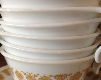 6 Vintage Cups/Saucers in Corelle Butterfly Gold Set