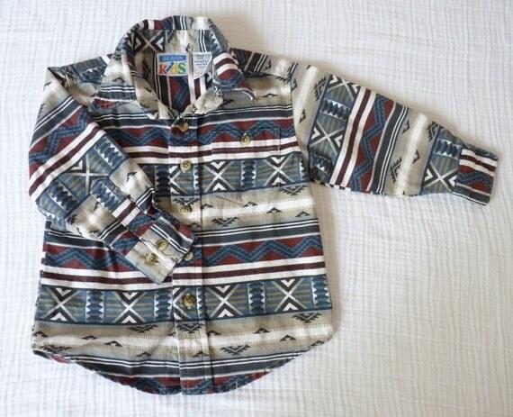 Vintage southwestern navajo shirt, toddler 3T.  Earthy geometric design.