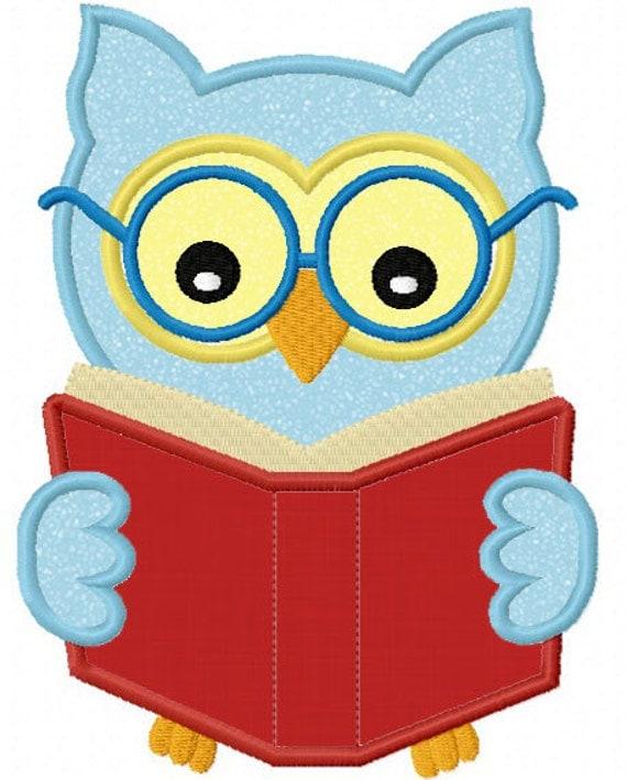 Instant Download Bookworm Owl  Applique Machine Embroidery Design NO:1217