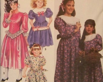 Vintage 1991 Simplicity 7404 Pattern for Child's and Girls' Dress with Collar and Trim Variations in Sizes 3 - 6