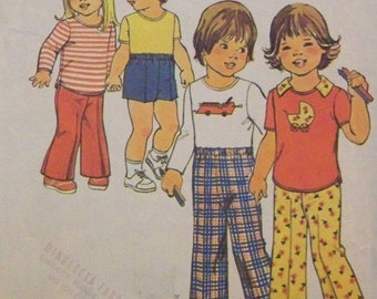 Vintage 1975 Simplicity 7061 Simple To Sew Pattern for Toddlers' and Child's Pants and Shorts or Pullover Top in Size 3