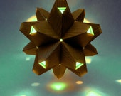 Paper Origami Lamp. Wood Print and Aqua. 60 sides. (Polyhdra Luminaria Series) - KateCallahanDesign
