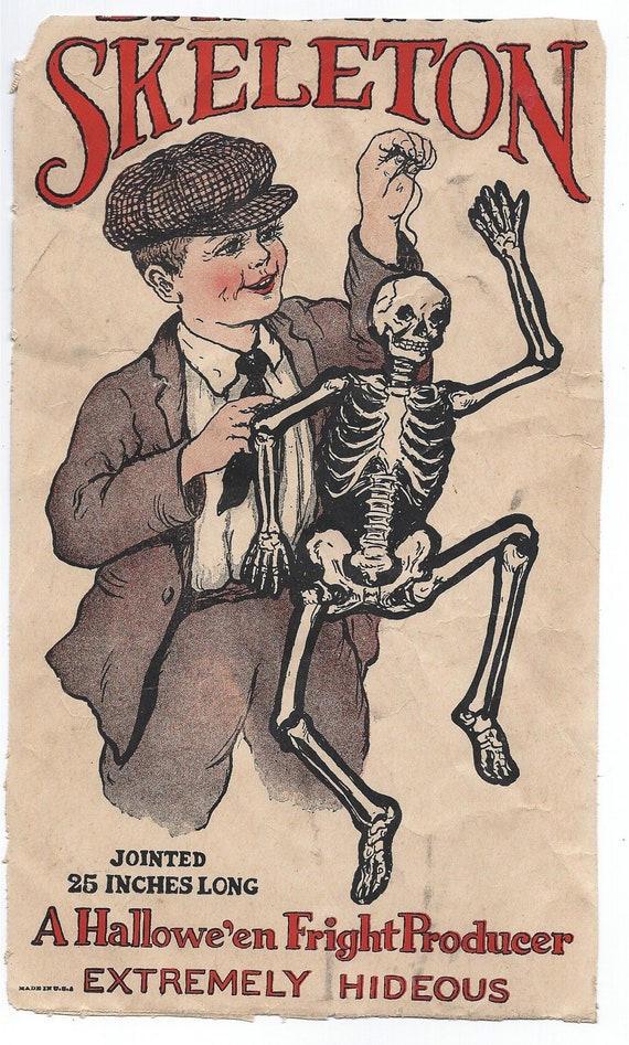 """Rare - Antique Old Halloween Beistle Packaging """"The Dancing Skeleton"""" USA 1920's Envelope - Hard to find"""