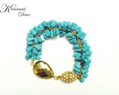 Turquoise Pyrite Statement Bracelet with Rhinestone Magnetic Clasp In Gold - KTownesend Gemstone Bracelet