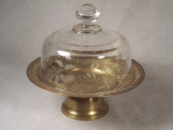 Etched Bronze Covered Glass Dome Cheese Butter Plate Dish