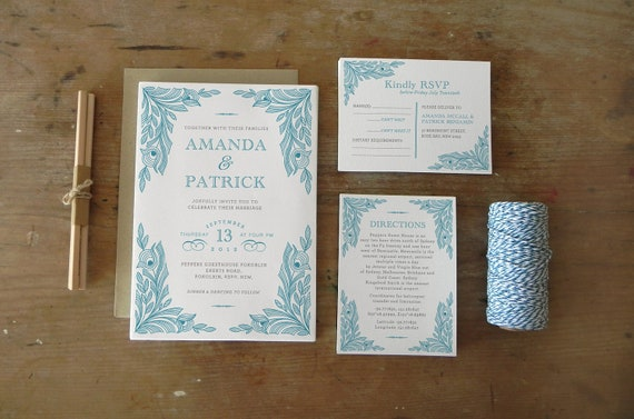 DIY Printable Wedding Invitation Peacock - 4 pieces