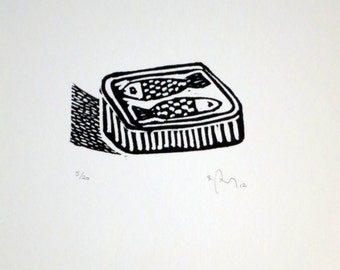 Etching sardine, fish, canned food, black and white, engraving, art