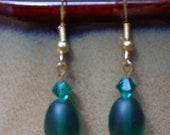 Emerald Green Glass Bead and Swarovski Crystal Earrings