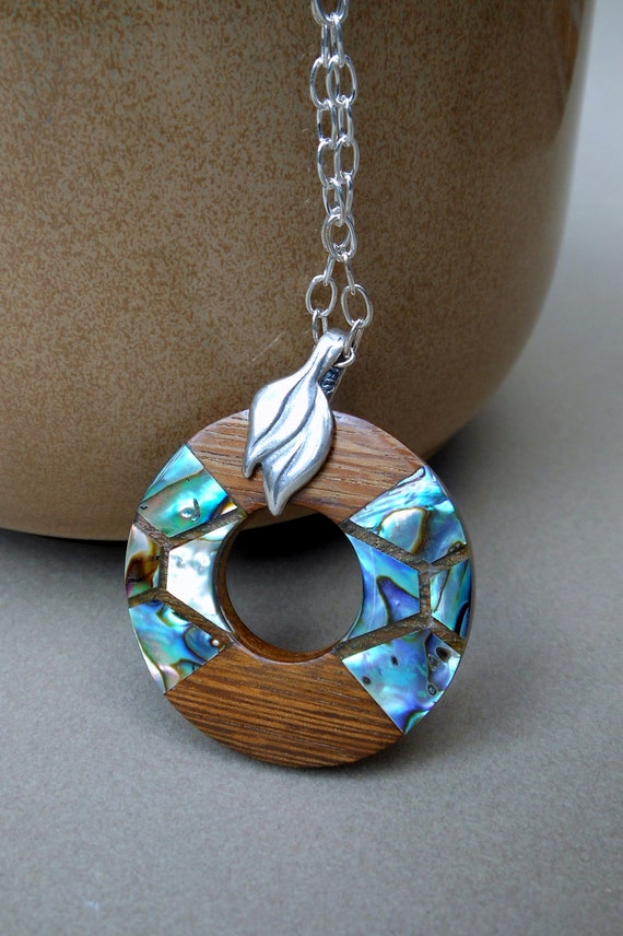 Abalone inlay wood pendant necklace on silver chain for How to make a wooden pendant