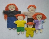 kids toys -- red-haired felt doll family -- small dolls