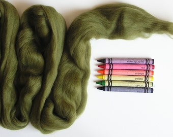 MERINO WOOL ROVING / Avocado 1 ounce / Merino wool for needle felting and wet felting.  Wool for spinning yarn and making yarn and knitting