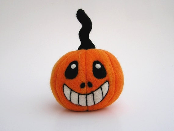 Needle Felted Jack-O-Lantern - Orange Wool Pumpkin for Halloween - Made in Maine from Purple Moose Felting