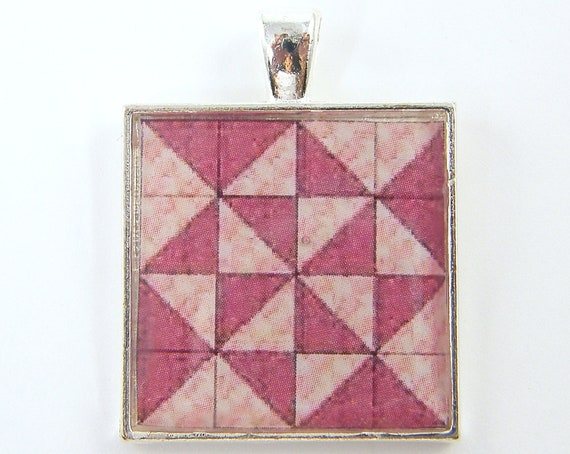 Quilters Gift -  Pendant Pink Silver Quilt Block Square Resin Jewelry