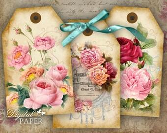 Powder Pink - digital collage sheet - set of 6 - Printable Download