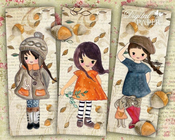 Autumn Wind - set of 6 bookmarks - digital collage - printable JPG file