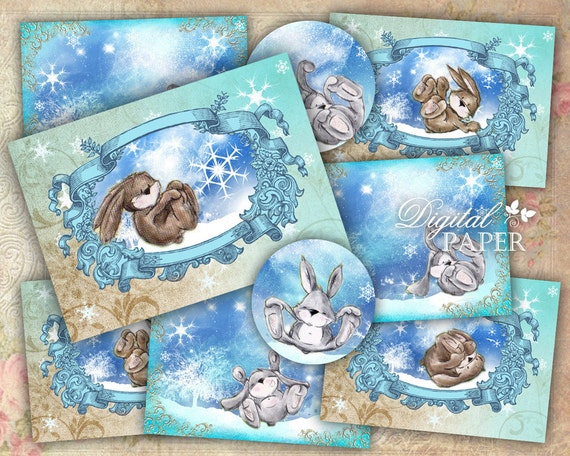 Snow Cards - digital collage sheet - set of 6 cards - Printable Download